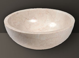 Ivory Polished Marble Oval Basin