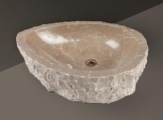 cream polished split-face marble oval basin