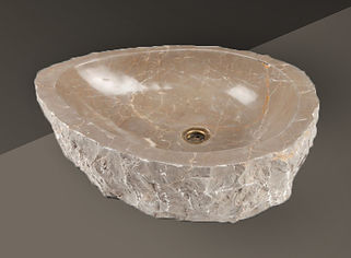 Cream Polished Split-Face Marble Oval Basin