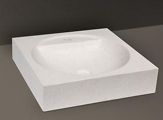 white brushed granite rectangular basin