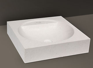 White Brushed Granite Rectangular Basin