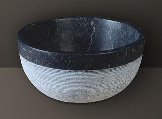 black split-face marble oval basin
