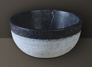 Black Split-Face  Marble Oval Basin