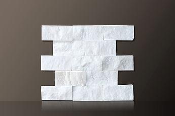 mugla white split-face marble bricks tiles set
