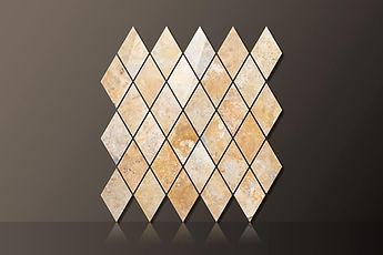 golden sienna polished travertine diamond mosaic