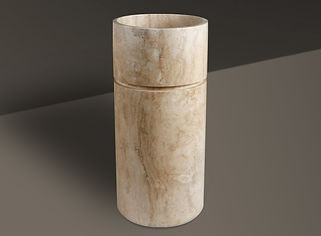 beige brushed marble oval basin