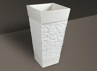 white split-face granite rectangular basin