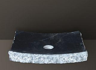 black brushed marble rectangular basin