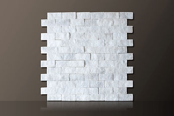WHITE SPLIT-FACE BRICKS MARBLE MOSAIC