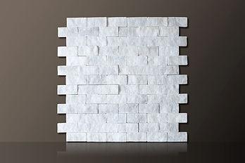 White Split-face Bricks Marble Mosaic