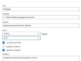 Jak umieścić delegaturę PRFM w doświadczeniu na Linked In?