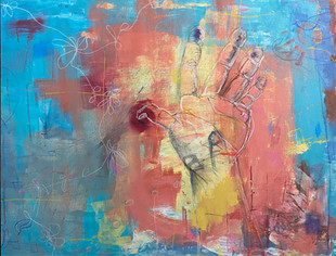 turquoise and coral with hand 36x48.jpg