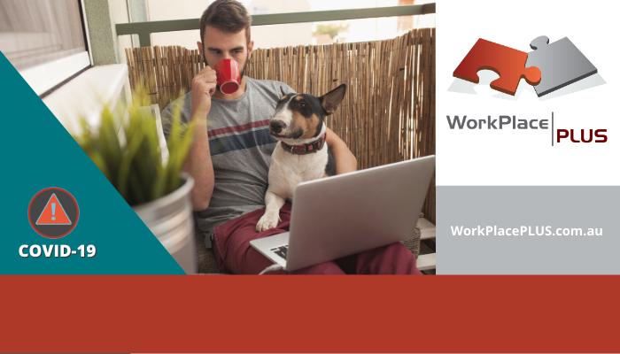 Man working from home, sitting on balcony, drinking a coffee with his laptop computer and his dog on his lap. WorkPlacePLUS