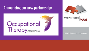 """Occupational Therapy Australia logo, WorkPlacePLUS logo, """"announcing our new partnership"""""""