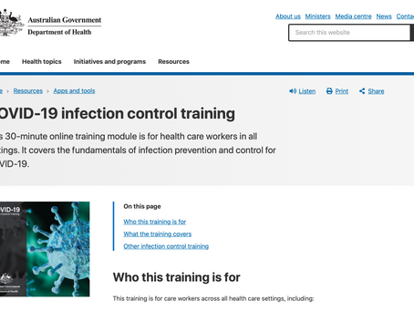 COVID-19 INFECTION CONTROL TRAINING