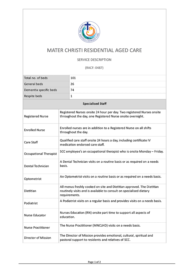 Sawtell Catholic Care - Service Descript