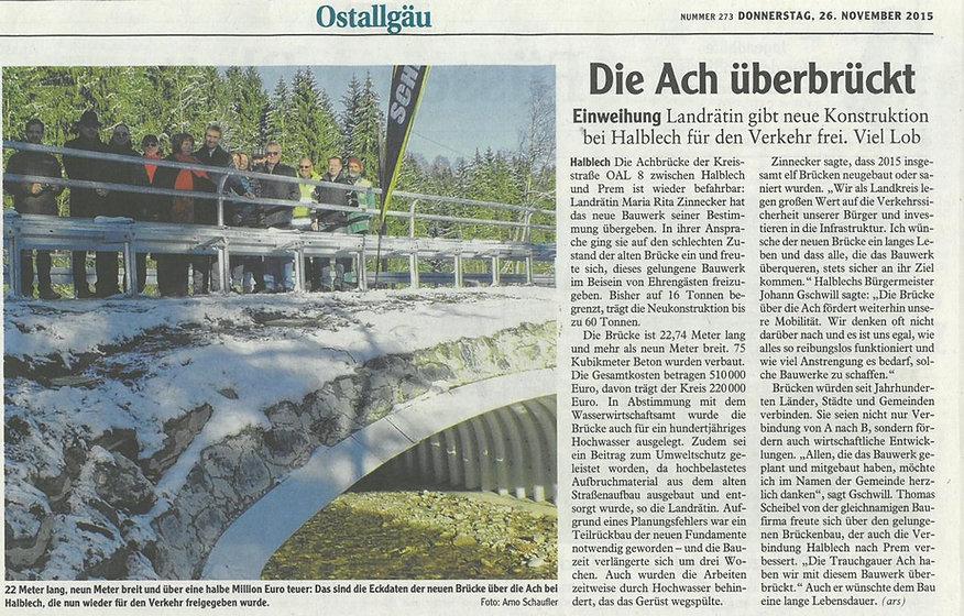Brückenbau, Achbrücke, Halblech, Scheibel. Baufirma Allgäu, Brücke, Ingenierubau, Landrätin, Füssen, Scheibel, Halblech, Straßenbau, Hochbau, Tiefbau, Füssen, Schwangau, Pfronten, Trauchgau
