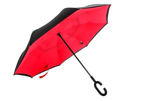 rbrella manual C handle - black/red
