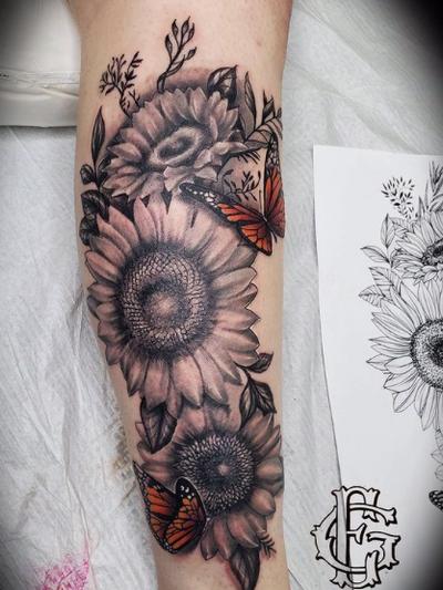 Floral half sleeve by Junior
