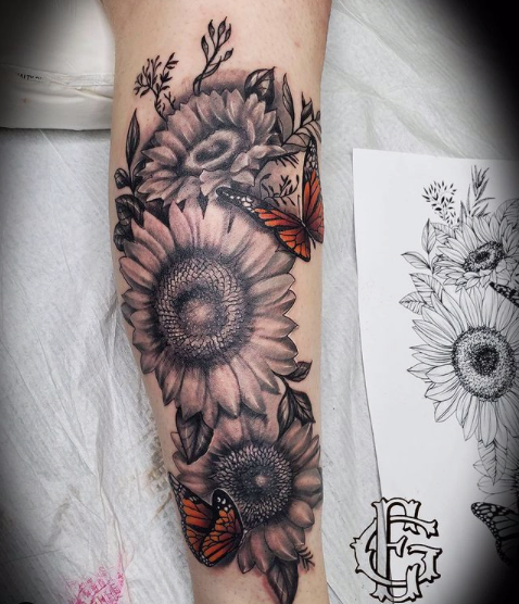 Floral half sleeve by Junior