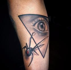 Black widow and eye