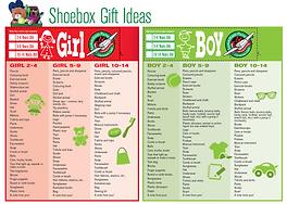 Shoebox Gift Ideas
