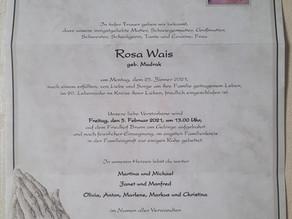 Rosa Wais ist verstorben