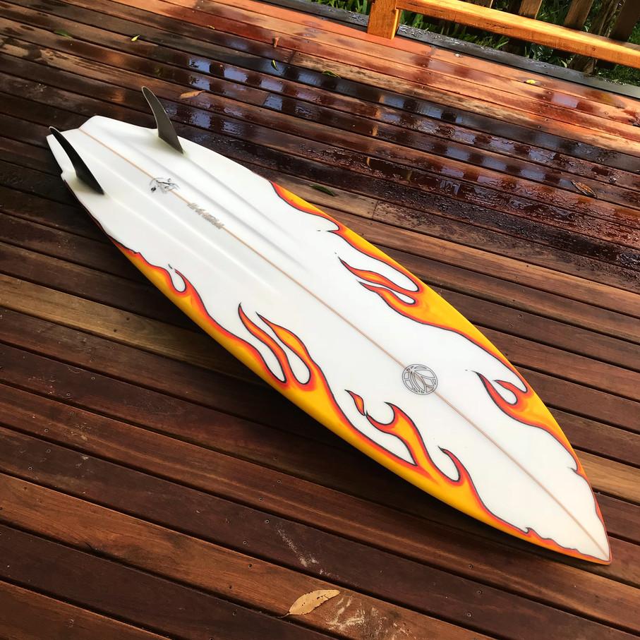 Flaming 'o' - Daniels Surfboards for Otis Carey