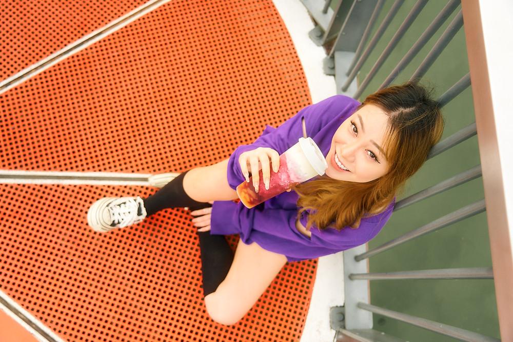 Hey Tea's Very Grape Cheezo Top Down Photoshoot with our model Rachel