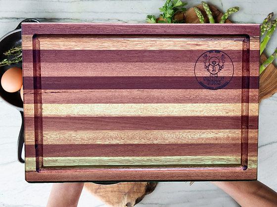 Hand Crafted Redgum/Claret Ash Stripe Chopping Board (400x265x30mm)