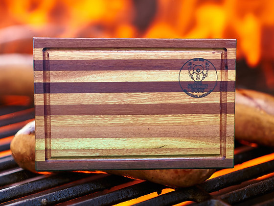 Hand Crafted Redgum/Claret Ash Stripe Chopping Board (400x265x30mm)