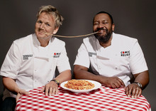 Gordon Ramsay and Lenny Henry embroidered chef jackets
