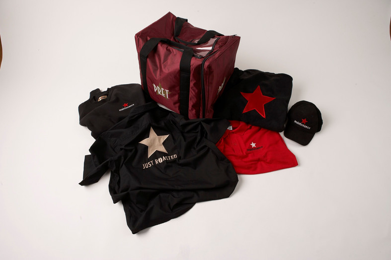 Pret A Manger Uniform Pack embroidery and print
