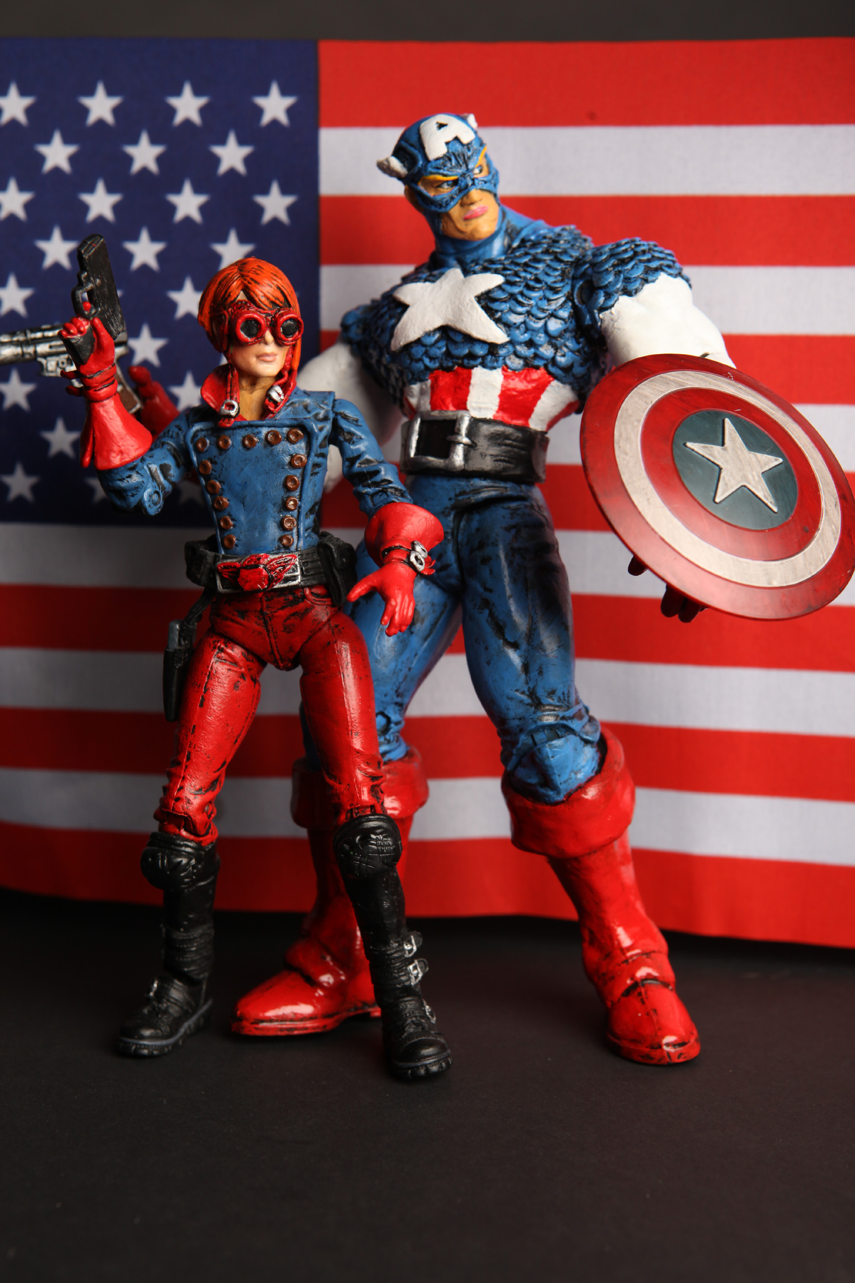 Custom Captain America and Rikki Barnes Flag Backdrop B