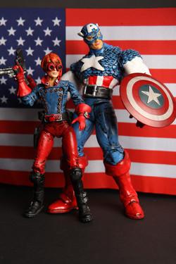 Custom Captain America and Rikki Barnes Flag Backdrop B
