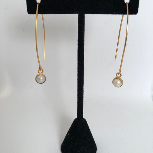 "2"" drop gold filled pearl earrings"