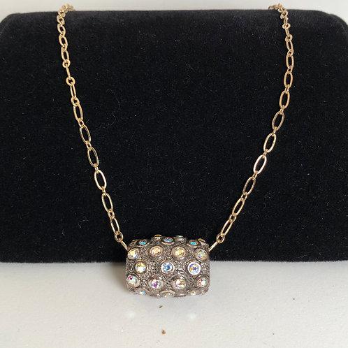 "11 1/2""chain with chunky rhinestone barrel bead"