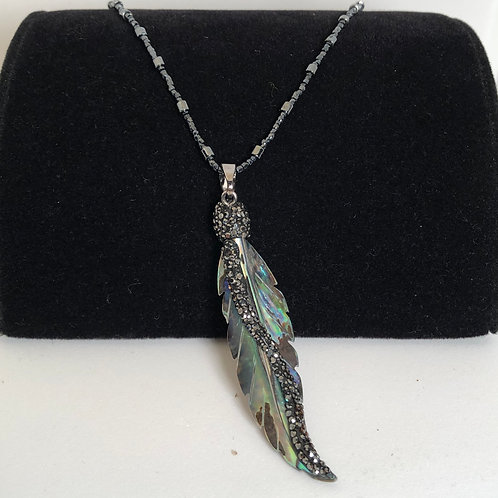 "13"" long albalone shell feather on hand beaded strand necklace"
