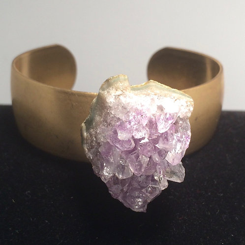 Amethyst Brass Cuff
