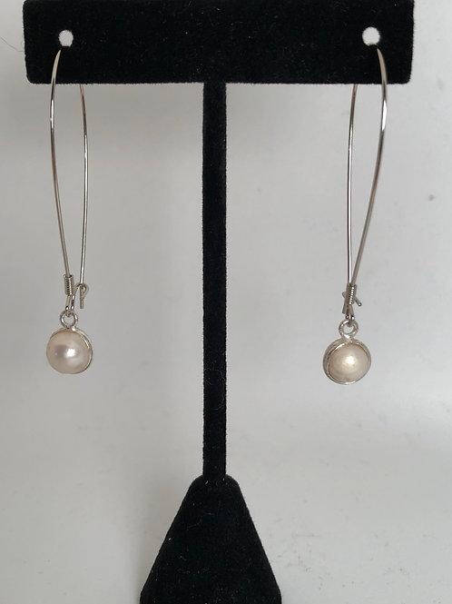 "2 1/4"" drop pearl earrings"