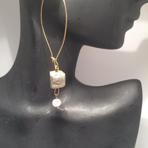 Pyrite and pearl loop earrings