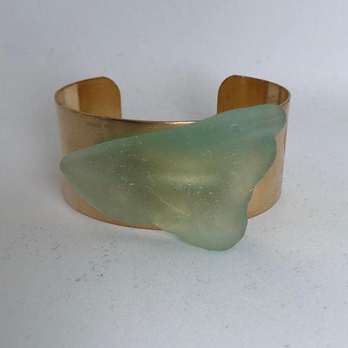 """1 1/4"""" brass cuff with sea glass"""