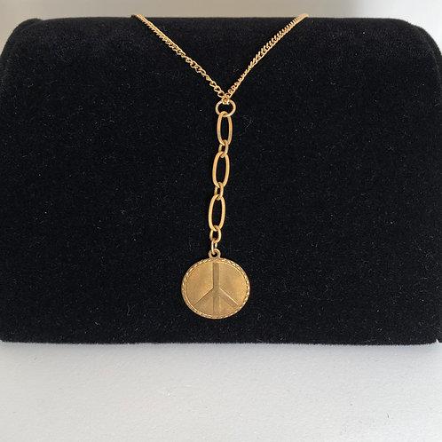 "10"" drop Peace medallion necklace"