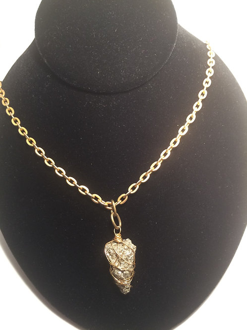Wrapped pyrite chain necklace