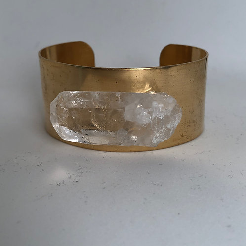 "1 1/4"" brass cuff with crystal"