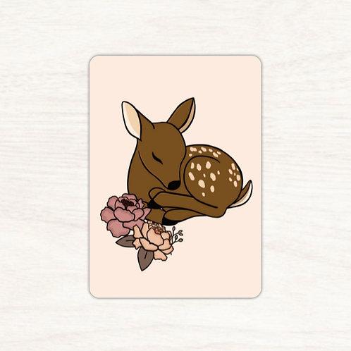 Carte postale faon fleuri