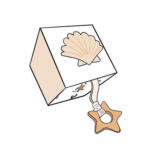 Cube d'éveil Coquillage à personnaliser prénom et infos naissance