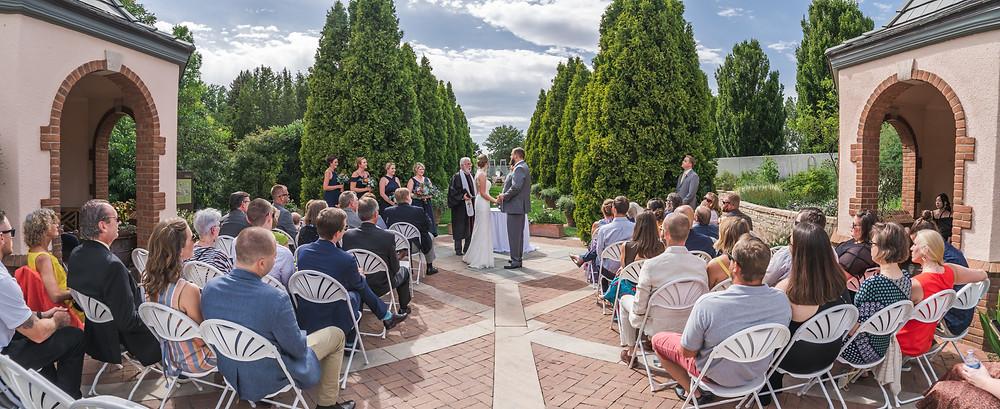 Wedding photographer at Denver Botanic Gardens in Colorado