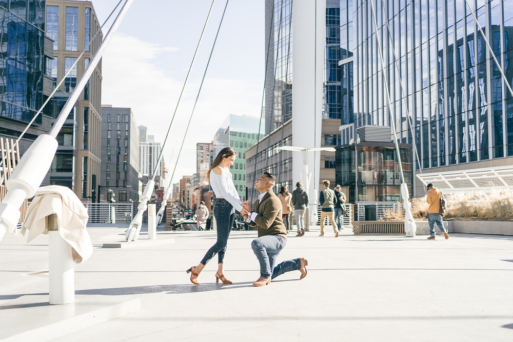 Denver Millennium Bridge engagement photography