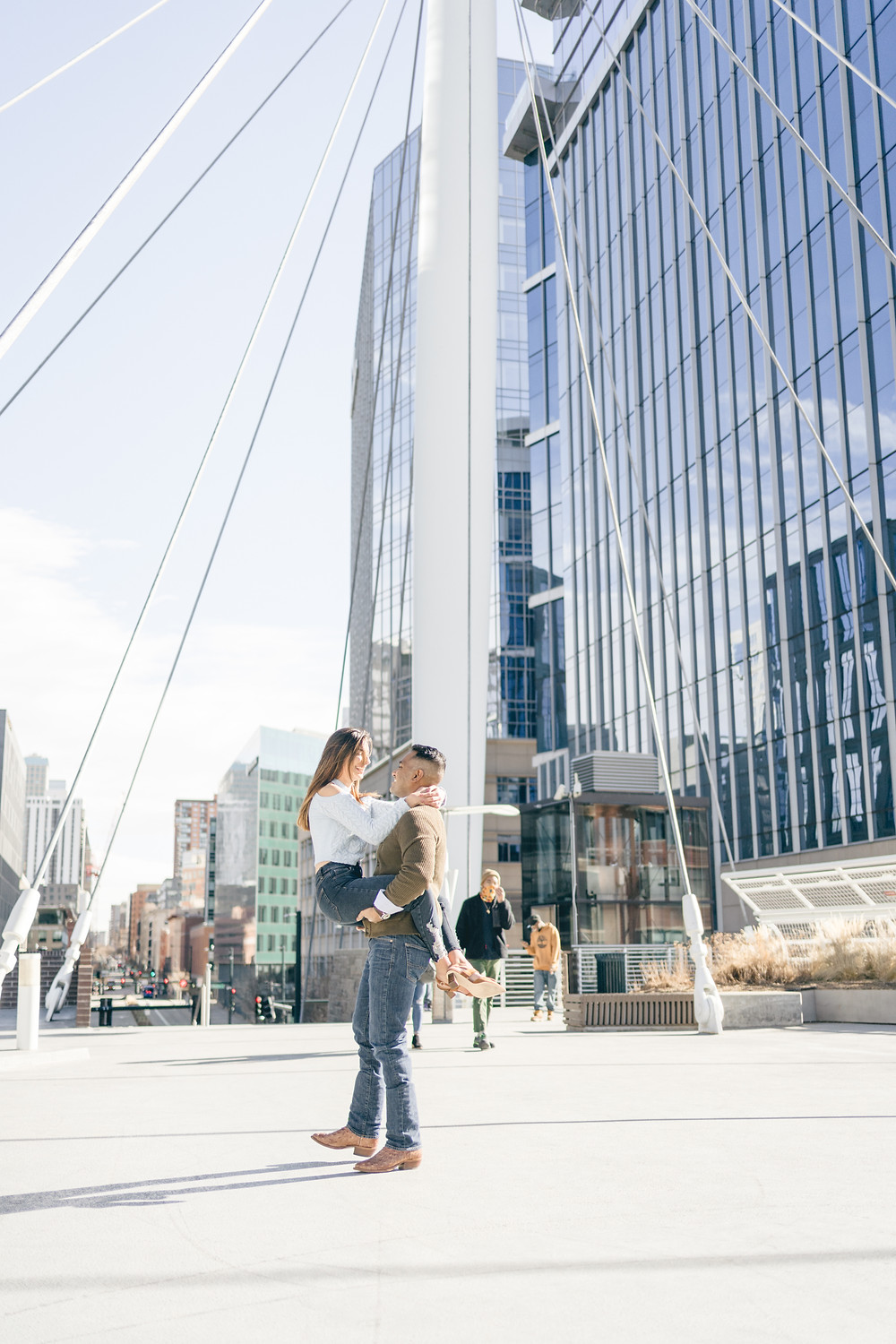 Denver millennium bridge engagement photos